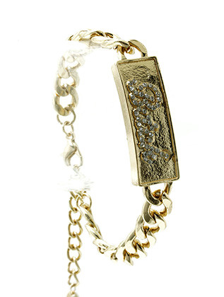 Bracelet / Link / Metal / Crystal Stone / Message / Bitch / 1/2 Inch Tall / Nickel And Lead Compliant