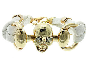 Bracelet / Link / Leather / Halloween / Metal / Crystal Stone / Skull / 3/4 Inch Tall / Nickel And Lead Compliant