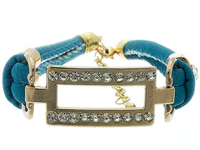 Bracelet / Link / Leather / Metal / Crystal Stone / 3/4 Inch Tall / Nickel And Lead Compliant
