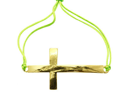 Bracelet / Adjustable / Cord / Metal / Cross / 1 Inch Tall / Nickel And Lead Compliant