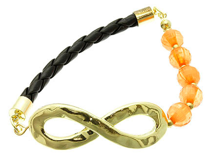 Bracelet / Stretch / Metal / Cord / Lucite Bead / Infinity / 3/4 Inch Tall / Nickel And Lead Compliant