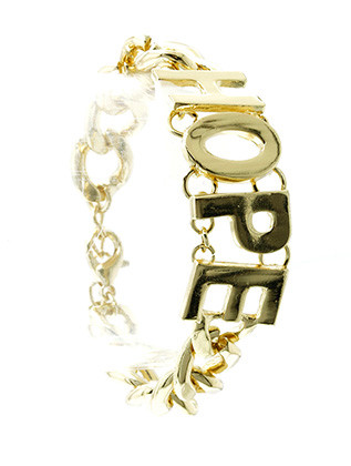 Bracelet / Link / Metalchain / Message / Hope / 2/3 Inch Tall / Nickel And Lead Compliant