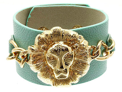 Bracelet / Leather / Clip / Metal / Metalchain / Animal / Lion / 1 3/4 Inch Tall / Nickel And Lead Compliant
