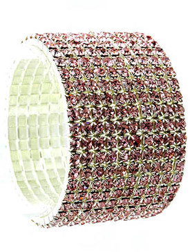 Bracelet / Stretch / Metal / Rhinestone / 1 1/3 Inch Tall / Nickel And Lead Compliant