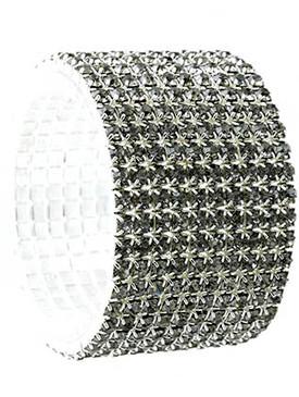 Bracelet / Stretch / Metal / Rhinestone / 1 1/3 Inch Tall / Nickel And Lead Compliant