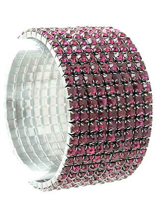 Bracelet / Stretch / Metal / Rhinestone / 1 1/4 Inch Tall / Nickel And Lead Compliant