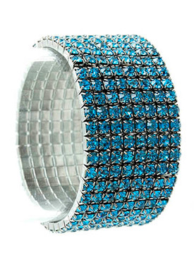 Bracelet / Stretch / Metal / Rhinestone / 1 1/8 Inch Tall / Nickel And Lead Compliant