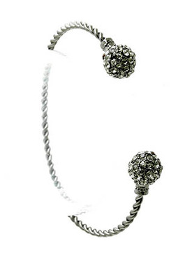 Bracelet / Cuff / Metal / Crystal Stone Paved / 1/4 Inch Tall / Nickel And Lead Compliant