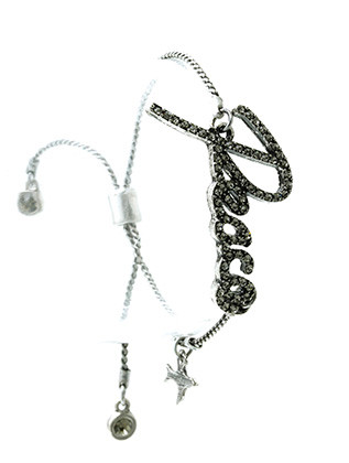 Bracelet / Adjustable / Cord / Metal / Crystal Stone Paved / Message / Peace / 1 Inch Tall / Nickel And Lead Compliant