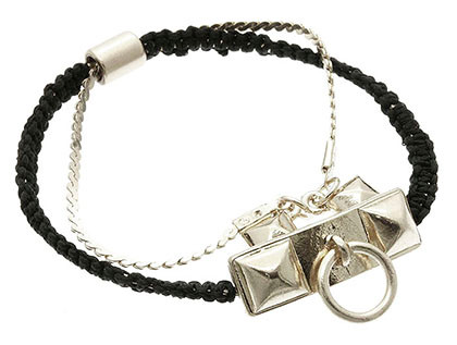 Bracelet / Adjustable / Cord / Metal / 1/2 Inch Tall / Nickel And Lead Compliant