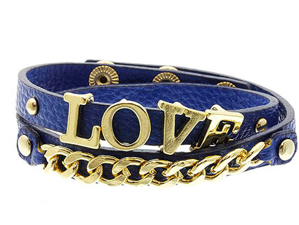 Bracelet / Leather / Clip / Metal / Metalchain / Message / Love  / 1/2 Inch Tall / Nickel And Lead Compliant