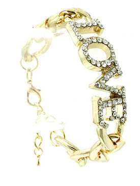 Bracelet / Link / Metalchain / Crystal Stone Paved / Message / Love / 2/3 Inch Tall / Nickel And Lead Compliant