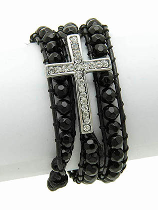 Bracelet / Metal Cross / Wraparound / Homaica Bead / Aged Finish / Pave Crystal Stone / Doulbe Cord / Loop Closure / 21 Inch Long / 1 Inch Tall / Nickel And Lead Compliant