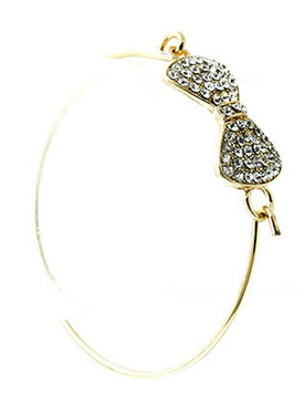 Bracelet / Link / Hook / Metal / Crystal Stone Paved / Bow / Ribbon / 3/4 Inch Tall / Nickel And Lead Compliant