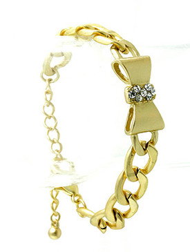 Bracelet / Link / Brass / Matte Finish / Crystal Stone / Bow / Ribbon / 1/3 Inch Tall / Nickel And Lead Compliant