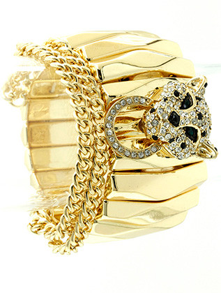 Bracelet / Stretch / Metal Chain / Crystal Stone Paved / Leopard / 1 1/2 Inch Tall / Nickel And Lead Compliant