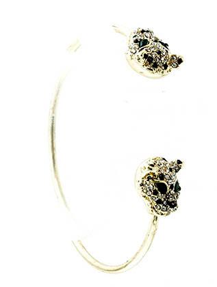 Bracelet / Cuff / Metal / Crystal Stone / Leopard / 1/2 Inch Tall / Nickel And Lead Compliant
