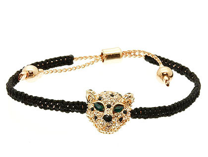 Bracelet / Adjustable / Cord / Metal / Leopard / 1/2 Inch Tall / Nickel And Lead Compliant
