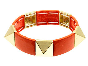 Bracelet / Stretch / Metal / Epoxy Coated / Pyramid Spikes / 1/2 Inch Tall / Nickel And Lead Compliant
