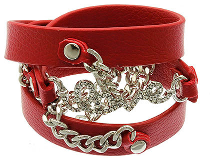 Bracelet / Leather / Clip / Metal Chain / Crystal Stone Paved / Message / Love / 1 3/4 Inch Tall / Nickel And Lead Compliant