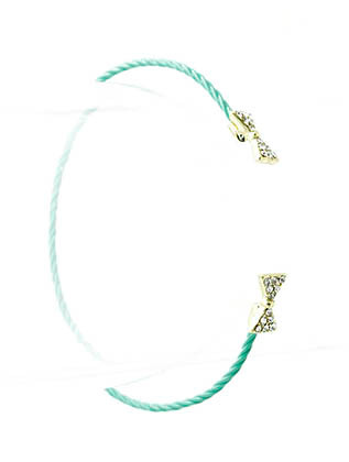 Bracelet / Cuff / Metal / Crystal Stone Paved / Epoxy Coated / Bow / Ribbon / 1/6 Inch Tall / Nickel And Lead Compliant