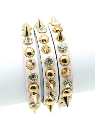 Bracelet / Metal Spike / Leather Band / Stud / Crystal Stone / Three Strand / 7 Inch Long / 1 1/4 Inch Tall / Nickel And Lead Compliant