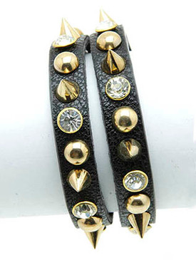 Bracelet / Metal Spike / Leather Band / Stud / Crystal Stone / Two Strand / 7 Inch Long / 1 Inch Tall / Nickel And Lead Compliant