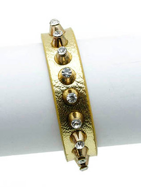 Bracelet / Metal Stud / Leather Band / Crystal Stone / 7 Inch Long / 1/2 Inch Tall / Nickel And Lead Compliant