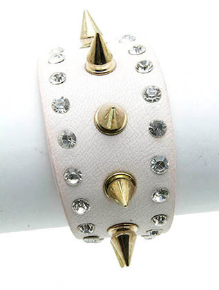 Bracelet / Metal Spike / Leather Band / Crystal Stone / Two Strand / 8 Inch Long / 1 1/2 Inch Tall / Nickel And Lead Compliant