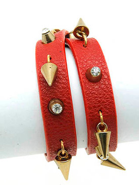 Bracelet / Leather Band / Wraparound / Metal Spike Fringe / Stud / Crystal Stone / 16 Inch Long / 1/2 Inch Tall / Nickel And Lead Compliant