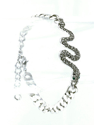 Bracelet / Link / Metal / Crystal Stone Paved / Animal / Snake / 3/4 Inch Tall / Nickel And Lead Compliant