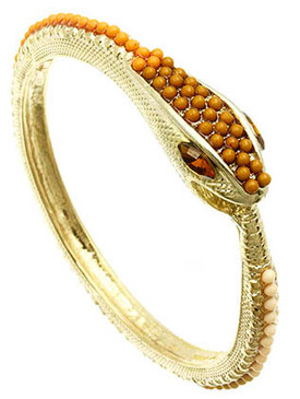 Bracelet / Snake / Bangle / Textured Metal / Pave Crystal Stone / Homaica / 2 1/4 Inch Diameter / 1/2 Inch Tall / Nickel And Lead Compliant