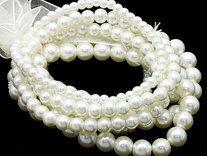 Bracelet / Stretch / Glass Pearl Bead / Stackable / 7 Pcs / 1 1/2 Inch Tall / Nickel And Lead Compliant