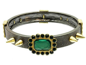 Bracelet / Bangle / Textured Metal / Crystal Stone / Spikes / 1/2 Inch Tall / Nickel And Lead Compliant