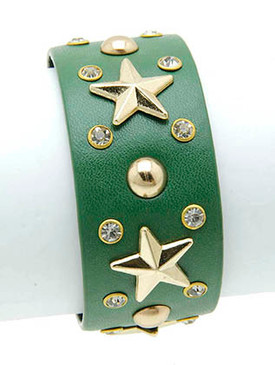 Bracelet / Metal Star Stud / Leather Band / Crystal Stone / 7 Inch Long / 1 Inch Tall / Nickel And Lead Compliant