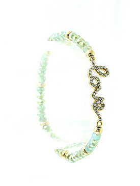 Bracelet / Stretch / Metal / Semi Precious Stone / Crystal Stone Paved / Message / Love / 1/3 Inch Tall / Nickel And Lead Compliant