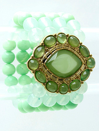 Bracelet / Stretch / Metal / Lucite Bead / Glass Bead / Chunky / Pastel / 2 Inch Tall / Nickel And Lead Compliant