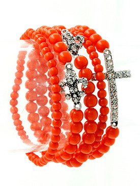 Bracelet / Stretch / Metal / Crystal Stone / Lucite Bead / Stackable / Cross / Fleur De Lis / 5 Pcs / 1 1/4 Inch Tall / Nickel And Lead Compliant
