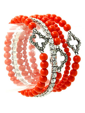 Bracelet / Stretch / Metal / Crystal Stone / Lucite Bead / Stackable / 5 Pcs / 1 1/3 Inch Tall / Nickel And Lead Compliant