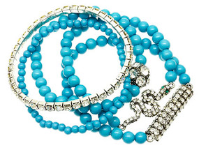Bracelet / Stretch / Metal / Crystal Stone / Lucite Bead / Stackable / Animal / Snake / 5 Pcs / 1 1/2 Inch Tall / Nickel And Lead Compliant