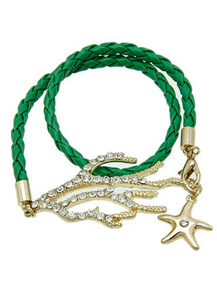 Bracelet / Metal Starfish Charm / Braided Leather Wraparound / Pave Crystal Stone / Textured / Reef / Sealife / 14 Inch Long / 1 1/4 Inch Tall / Nickel And Lead Compliant