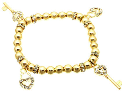 Bracelet / Stretch / Metal / Crystal Stone / Charms / Key And Lock / 1 Inch Tall / Nickel And Lead Compliant