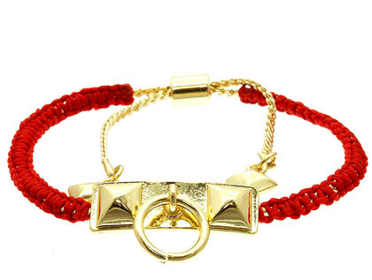 Bracelet / Adjustable / Cord / Metal / Pyramid / 1/2 Inch Tall / Nickel And Lead Compliant