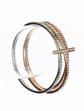 Bracelet / Bangle / Metal / Crystal Stone Paved / Cross / 3 Pieces / 1 Inch Tall / Nickel And Lead Compliant
