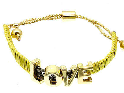 Bracelet / Link / Cord / Metal / Message / Love / 1/3 Inch Tall / Nickel And Lead Compliant
