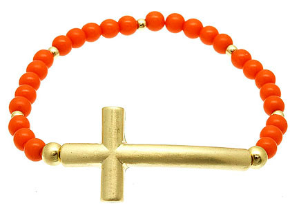 Bracelet / Stretch / Metal / Matte / Lucite Bead / Cross / 3/4 Inch Tall / Nickel And Lead Compliant