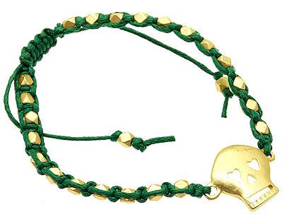 Bracelet / Adjustable / Cord / Metal / Matte / Skull / 1/2 Inch Tall / Nickel And Lead Compliant / Halloween