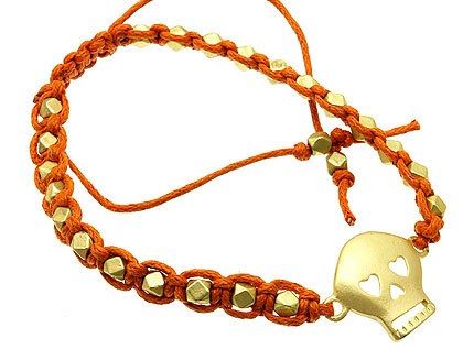 Bracelet / Adjustable / Cord / Metal / Matte / Skull / 1/2 Inch Tall / Nickel And Lead Compliant / Halloween