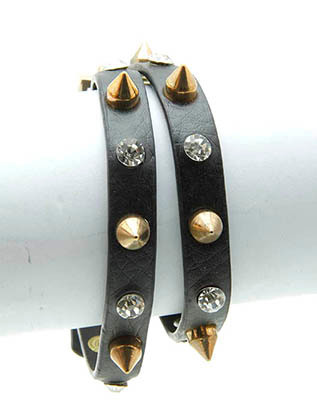 Bracelet / Leather Band / Wraparound / Metal Spike / Crystal Stone / Belt Closure / 19 Inch Long / 1/4 Inch Tall / Nickel And Lead Compliant