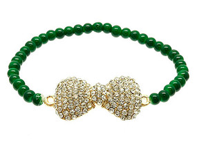 Bracelet / Stretch / Metal / Crystal Stone Paved / Semi Precious Stone Bead / Bow / Ribbon / 1/2 Inch Tall / Nickel And Lead Compliant